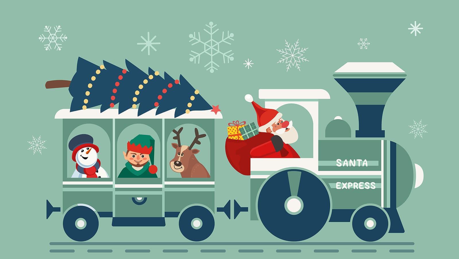 Happy holiday Santa train party vector poster. Comic steam Christmas Polar express cartoon. Santa with elf, deer, snowman fun railroad travel. Holiday season kids celebration magical Christmas train